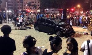 Crashed car at Copacabana beach