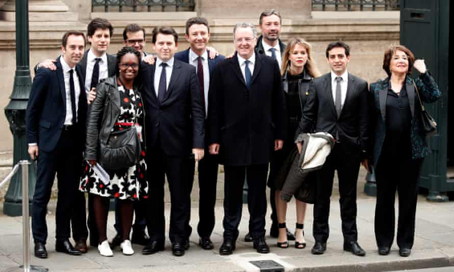 Emmanuel Macron's new team, including Ismael Emelien (pictured fourth left), arrive at the Élysée Palace in May 2017 before the handover ceremony for the new president