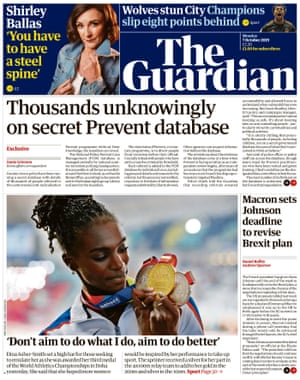 Guardian front page, Monday 7 October 2019