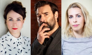 Cariad Lloyd and two of the contributors to her Griefcast podcast, Adam Buxton and Sara Pascoe