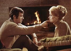 Jean-Paul Belmondo with Catherine Deneuve in François Truffaut's romantic drama Mississippi Mermaid , 1969