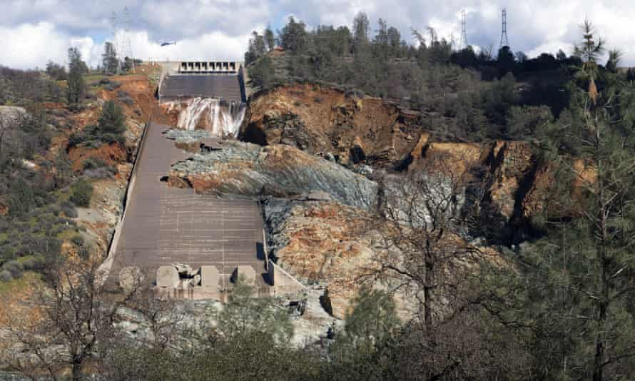 The crippled spillway of Oroville Dam in California. A hole formed in the spillway last year, allowing 55,000 cubic feet of water per second to flow down the slope – nearly causing disaster.