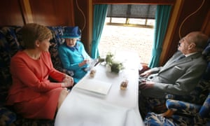 Nicola Sturgeon joins the Queen and Prince Philip on a steam train to inaugurate the new £294m Borders railway in September.