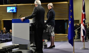 Theresa May and Jean-Claude Juncker speak to the press.