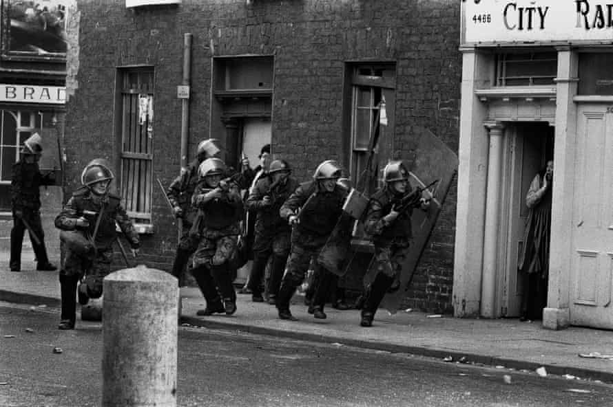 A scene from the Bogside in Derry, Northern Ireland, in 1971.