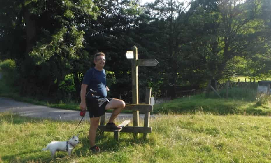 Mark Squires by a wall-less stile in Troutbeck valley, Cumbria