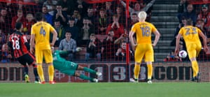 Bournemouth's Lewis Grabban squares things up at Vitality Stadium.