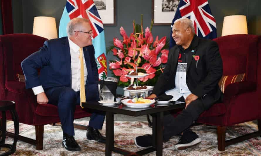 Australia's prime minister Scott Morrison is seen with Fiji's prime minister Frank Bainimarama in Fiji