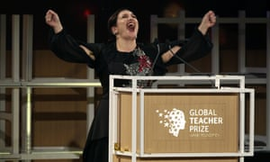 Andria Zafirakou reacts after winning the Global Teacher prize in Dubai.