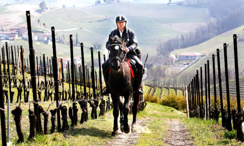 Roberto Anfosso crosses a vineyard