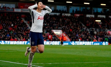 Son Heung-min celebrates his second goal at the Vitality Stadium.