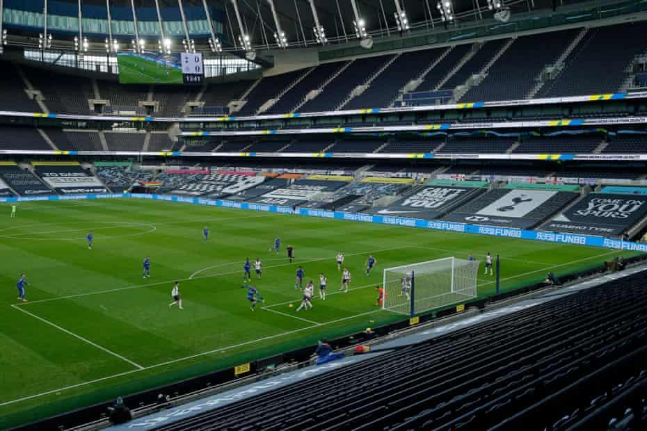 Jamie Vardy shoots at goal during the Tottenham Hotspur v Leicester City Premier League match at the Tottenham Hotspur Stadium in December 2020.