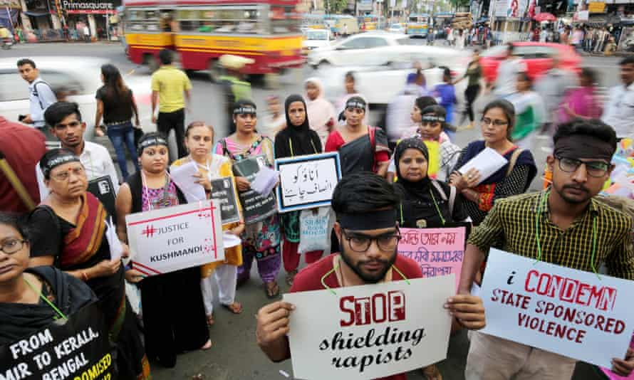 Indians protest in Kolkata against rape and widespread sexual violence across the country.