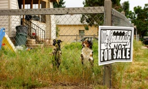 Property not for sale sign and dogs. Denver gentrification story for cities