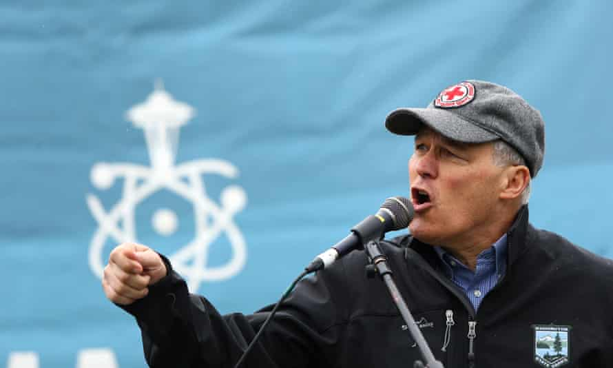 Jay Inslee speaks at a rally during the March for Scince in Seattle, Washington on 22 April 2017.
