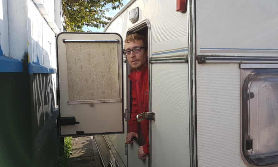 Brian Meekle works in a warehouse for up to 45 hours a week but low wages force him to live in a caravan.