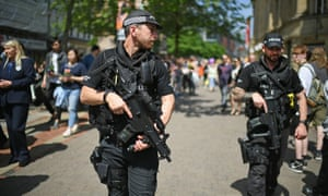 Armed police on patrol in Manchester