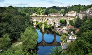 Railway viaduct over the river Nidd at Knaresborough, North Yorkshire, England, UK.