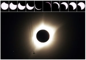 These ten pictures shows the progression of the partial solar eclipse as a jet plane flies by the total solar eclipse in Guernsey, Wyoming.