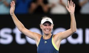 Caroline Wozniacki celebrates after winning the women's singles final match against Romania's Simona Halep at Australian Open 2018 in Melbourne.