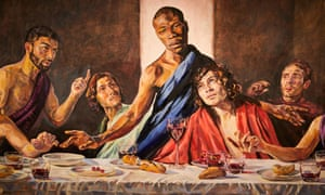 Detail of Lorna May Wadsworth's 2009 reworking of Leonardo's Last Supper, featuring model Tafari as Jesus.