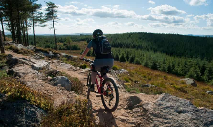 A rider in the Gisburn forest in Lancashire.
