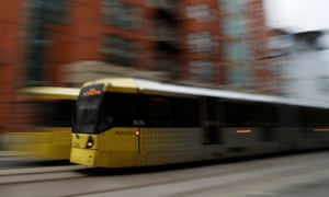 A Metrolink tram travels through the centre of Manchester, Britain, February 21, 2017. REUTERS/Phil Noble - RC19B2C11B10