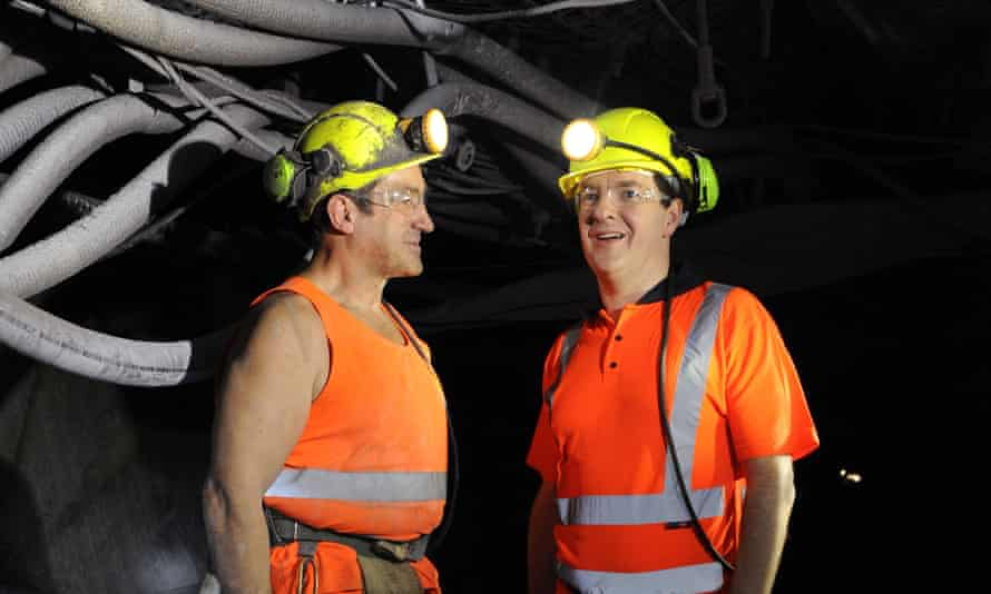 The chancellor, George Osborne, talking to miner Dave Hawells, left, at Thoresby colliery in 2013. Osborne said then that the benefits of economic recovery must be felt across the country and not just in the affluent south.
