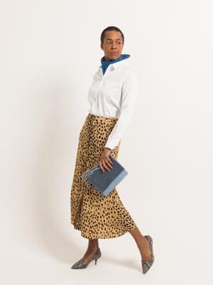 model wears silk scarf, £50, by Ganni, from net-a-porter.com. Shirt, £39.50, marksandspencer.com. Skirt, £119, whistles.com. Shoes, £49.99, and bag, £12.99, both hm.com.