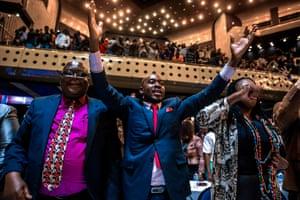 Members of parliament celebrate in Harare