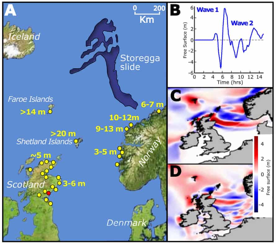 A graphic by the Sheffield University team showing the Storegga tsunami's geological origins and its impact on the Norwegian and Scottish coastlines.