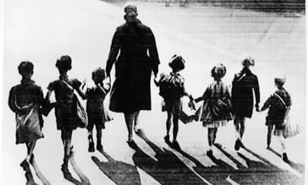 Group of children with emergency packs being mobilised for possible evacuation in 1939
