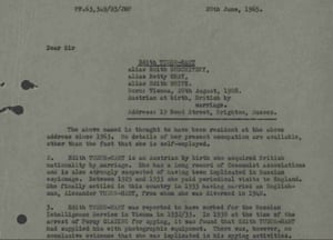 Declassified letter relating to Edith Tudor-Hart.