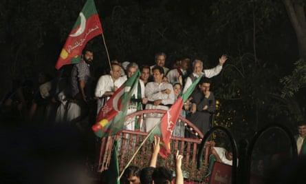Pakistani opposition leader Imran Khan in Lahore on Thursday.