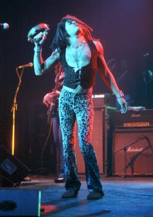 Inspired by glam rock style...Lenny Kravitz on stage at Wembley Arena, 1993