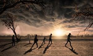An artists impression of the Australopithecus afarensis walking through Tanzania.