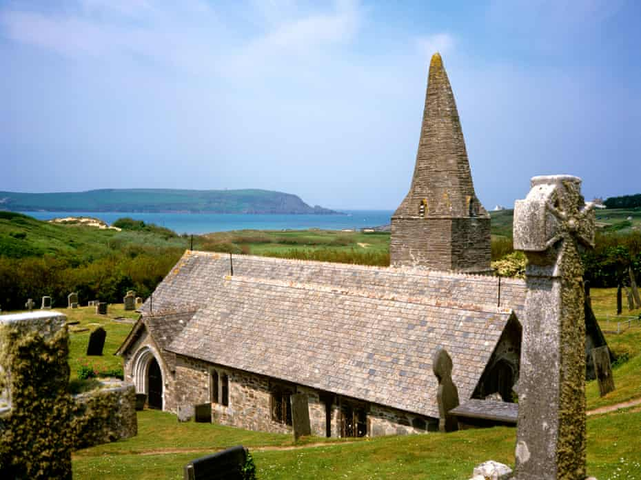St Enedocs Church, where Poet Laureate John Betjemans is buried, Dymer Bay, Cornwall, UK.