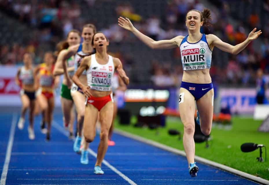 Laura Muir celebrates after winning the 1500 metres at this year's European Athletics Championships in Berlin.