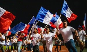 Les Loyalistes – a coalition of groups loyal to the French Republic – hold a rally at a Nouméa stadium ahead of the second referendum.
