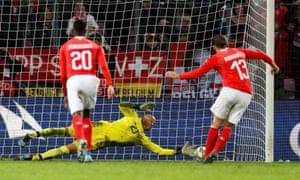 Darren Randolph saves the penalty from Switzerland's Ricardo Rodriguez.