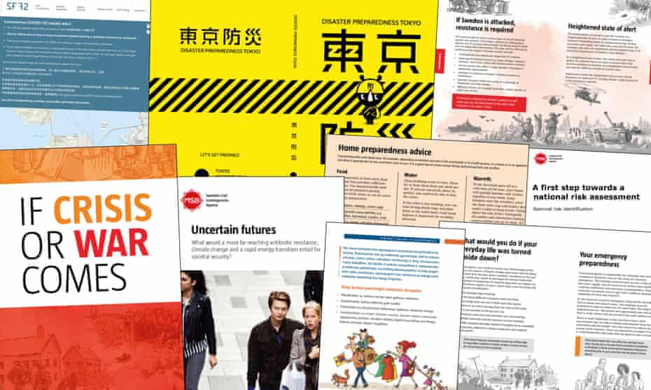 National disaster emergency publications from Sweden and other countries, which mitigate panic at times of crisis such as the current coronavirus pandemic.