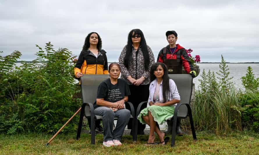 "Members of the Shinnecock Kelp Farmers, clockwise from top left, Tela Sasweena ""She Shall Harvest"" Troge, Darlene Mishannock ""Morning Star"" Troge, Waban Neetskeh ""Healing Wind"" Tarrant, Danielle Munnannock ""First Born Star"" Hopson Begun, and Rebecca Genia."
