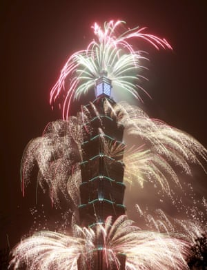 Fireworks explode from Taiwan's tallest skyscraper, the Taipei 101