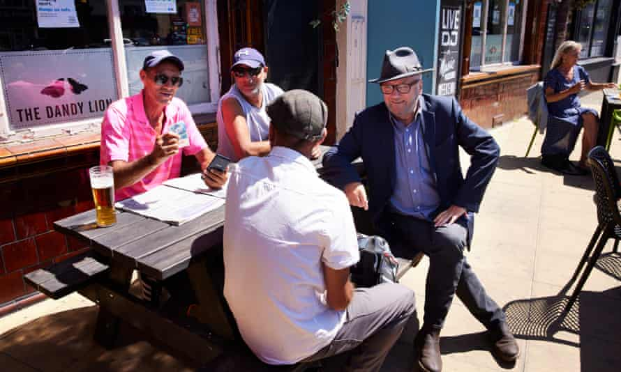 George Galloway campaigning at the Dandy Lion pub in Heckmondwike for the Batley and Spen byelection.