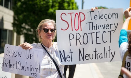 A protest against plans to roll back net neutrality regulations, Washington DC, May 2017