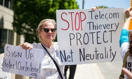 A protest held by net neutrality activists outside the Federal Communications Commission (FCC) building in Washington, DC on 16 May, 2017.