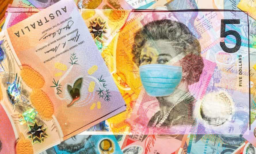 Face mask on 5 Australian dollars banknote