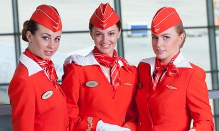 Aeroflot flight attendants in uniform