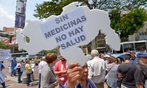 Venezuelans demonstrate against medicine shortages in Caracas.