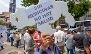 Demonstrations against medicine shortages in Caracas. 'I've lost count of how many drug stores I have been to in the past week, but there is nothing.'